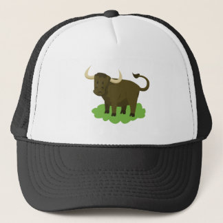 cow in the grass trucker hat