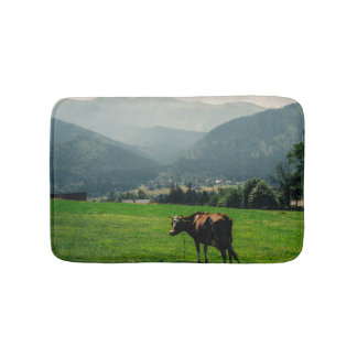 Cow In The Mountains Nature Landscape Photo Bath Mat