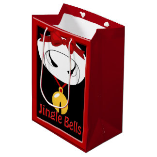 Cow Jingle Bell Christmas Med GB Medium Gift Bag