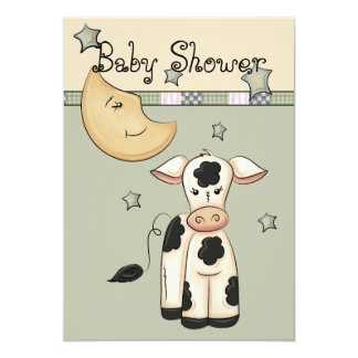 """Cow Jumped Over the Moon Baby Shower Invitations 5"""" X 7"""" Invitation Card"""