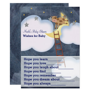 Cow Jumping Over Moon Wishes for Baby Shower Game Card
