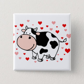 Cow Love 2 Inch Square Button