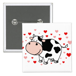 Cow Love 2 Inch Square Button