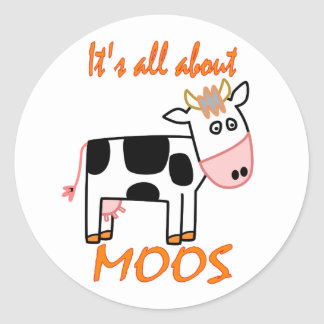 Cow Moos Classic Round Sticker