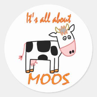 Cow Moos Round Sticker