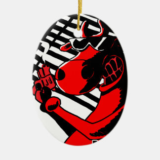 Cow Noir Ceramic Ornament