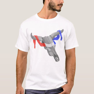 Cow or  Bull Skull Patriotic Ribbon T-Shirt
