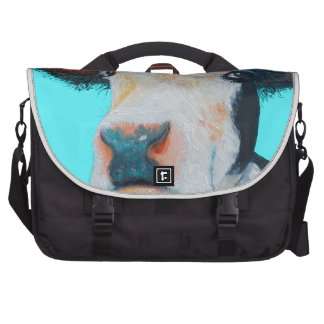 Cow painting on blue background bags for laptop