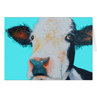 Cow painting on blue background card
