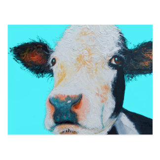 Cow painting on blue background postcard