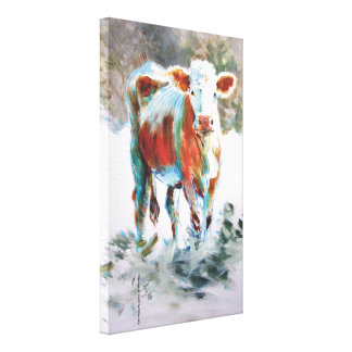 Cow Painting with dramatic unusual colors Canvas Print