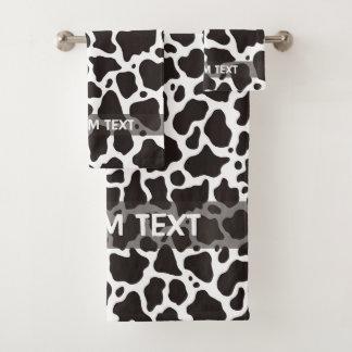 Cow pattern background bath towel set