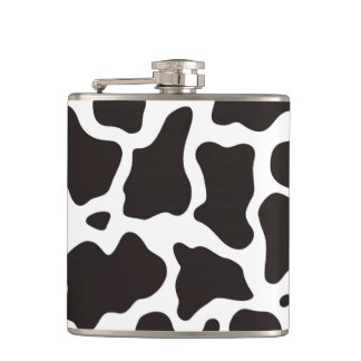 Cow pattern background hip flask