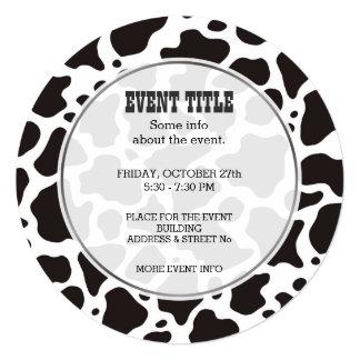 Cow pattern background Round Invitation