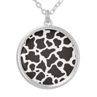 Cow pattern background silver plated necklace