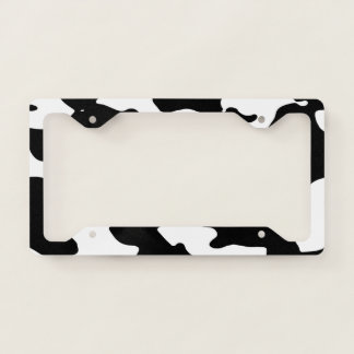 Cow Pattern Black and White License Plate Frame
