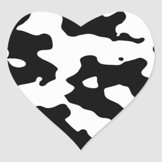 Cow Pattern Black and White Spots Heart Stickers