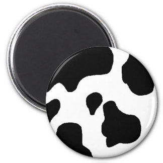 Cow print black and white blotchy pattern 2 inch round magnet