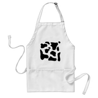 Cow print black and white blotchy pattern standard apron