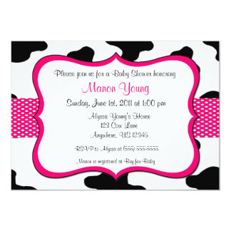 Cow Print Pink Baby Shower or Birthday Invitation