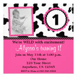 Cow Print Pink Girls Birthday Invite ANY AGE