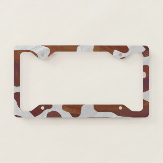 Cow print with Brown and White License Plate Frame