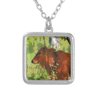 COW QUEENSLAND AUSTRALIA ART SILVER PLATED NECKLACE