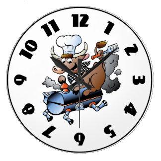 Cow Riding A BBQ Clock