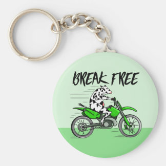 Cow riding a green motor cross bike basic round button keychain