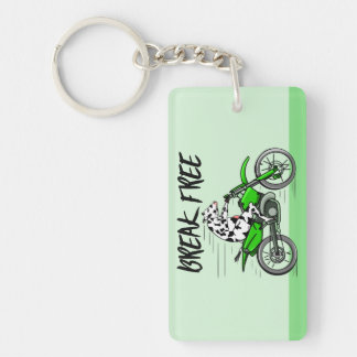 Cow riding a green motor cross bike Double-Sided rectangular acrylic keychain