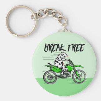 Cow riding a green motor cross bike keychain