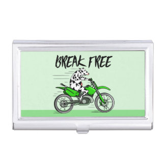 Cow Riding A Motorcyle Business Card Cases