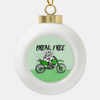 Cow Riding A Motorcyle Ceramic Ball Christmas Ornament