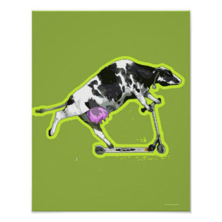 Cow Riding a Scooter Poster