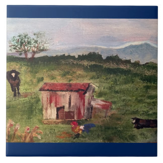 cow, rooster, tobacco barn ceramic tiles