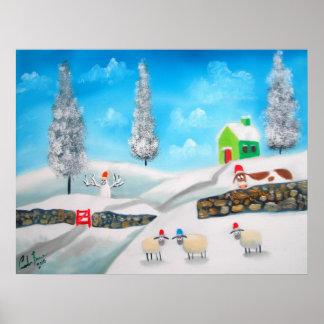 COW SHEEP folk winter SNOW SCENE painting G Bruce Poster