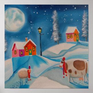 cow sheep winter snow scene folk art poster