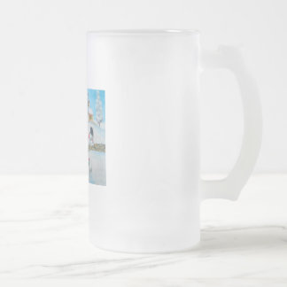 cow sheep winter snow scene naive folk art frosted glass beer mug