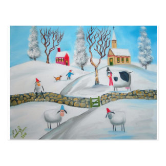 cow sheep winter snow scene naive folk art postcard