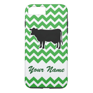 Cow Silhouette with Green Chevron Pattern iPhone 7 Plus Case
