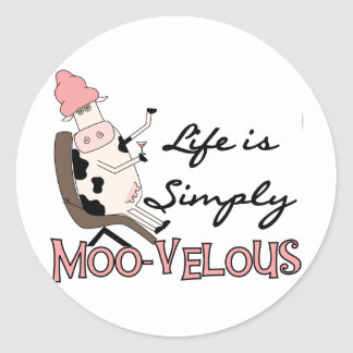 Cow Simply Moo-velous Tshirts and Gifts Round Sticker