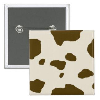 COW SKIN Brown Spots 2 Inch Square Button