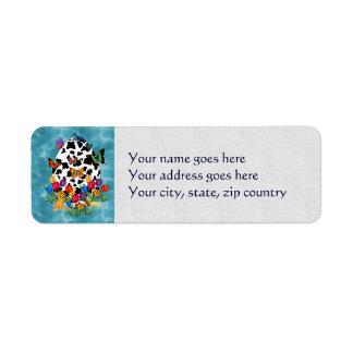 Cow Skin Easter Egg Return Address Label