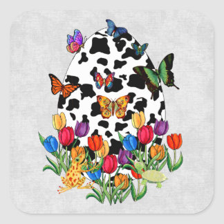 Cow Skin Easter Egg Square Sticker