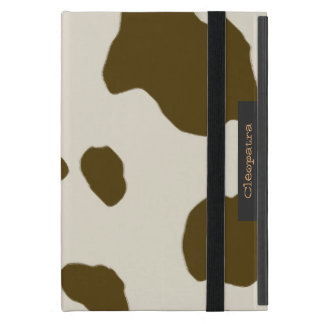 Cow Skin Print Brown with Name Label Case For iPad Mini