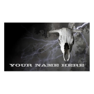 COW SKULL AND LIGHTNING BUSINESS CARD