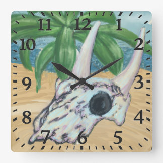 Cow Skull on the Sand Wall Clock