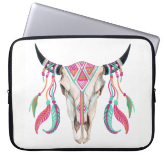 Cow Skull with Dream Catchers Laptop Sleeve
