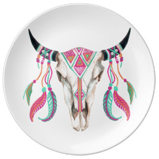 Cow Skull with Dream Catchers Plate