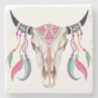 Cow Skull with Dream Catchers Stone Coaster
